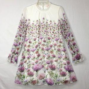 Ted Baker Deasil Thistle Print Frill Neck Dress
